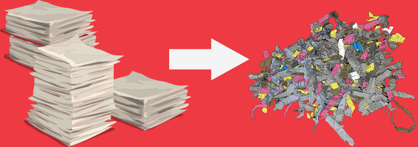 Stacks of Paper into Shredded Paper on Red Background