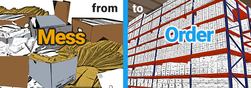 Graphic of Messy Documents Contrasted with Ordered Document Warehouse