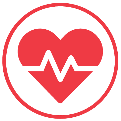 Red Heart Icon with Pulse Rate Sensor