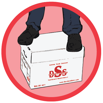 Human Standing on DSS Storage Box to show Strength
