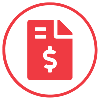accounting icon circle red