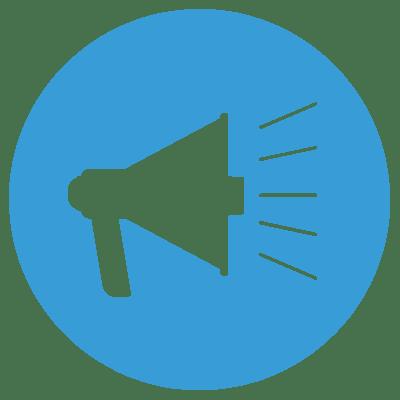 promote icon circle blue